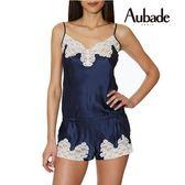 Aubade-Crepuscule 蠶絲S-L連身細帶褲裝(藍粉白)VI87