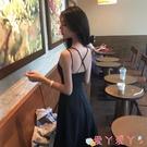 露背洋裝夏裝2021新款韓版赫本風小黑裙性感交叉露背吊帶連身裙女大擺長裙 愛丫 免運