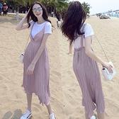 孕婦裙 夏季孕婦時尚韓版短袖t恤兩件套百褶吊帶長裙套裝孕婦連衣裙