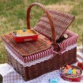 野餐籃 新品藤編柳編野餐籃帶蓋 收納籃 手提籃 購物籃 戶外籃子 禮品籃T 3色