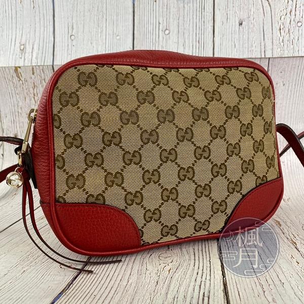 BRAND楓月 GUCCI 古馳 449413 紅邊帆布相機包 咖啡色經典GG印花 斜背包 肩背包