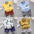 男童襯衫新款夏季兒童襯衫1-3歲男女寶寶短袖純棉男童襯衣兩件套裝潮2 快速出貨