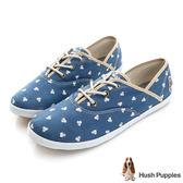 Hush Puppies 風和日麗咖啡紗帆布鞋-藍色