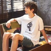 T恤唐獅短袖t恤男潮流夏季新款韓版純棉圓領青少年白色寬鬆衣服 可然精品