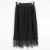 【SHOWCASE】冬款毛呢絨感鬆緊腰蕾絲襬雙層百褶膝下裙(黑)