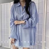 襯衫春裝2021年新款長袖襯衫女秋冬百搭韓版寬鬆中長款設計感小眾上衣 阿卡娜