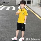 巧米兔童裝男童套裝2020新款夏季兒童休閒裝中大童短袖兩件套韓版 蘇菲小店