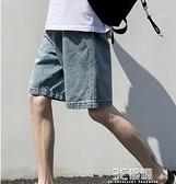 牛仔短褲男士2021年夏季新款潮流外穿潮流工裝馬褲寬鬆五分中褲子 3C優購