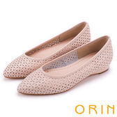 ORIN 微甜女孩 趣味雕花沖孔牛皮平底尖頭鞋-粉膚