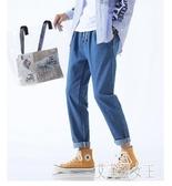 九分牛仔褲男生寬鬆直筒青少年系繩長褲子韓版潮流百搭秋冬季 yu8456『俏美人大尺碼』