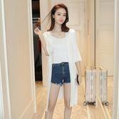 夏季薄款冰絲針織衫開衫女中長款喇叭袖 LQ5261『小美日記』