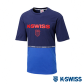 K-SWISS Soft Cool T-Shirt 印花短袖T恤-男-藍