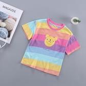女童2019新款夏裝打底衫條紋上衣夏季小童女寶寶兒童短袖洋裝t恤