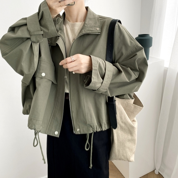 時尚休閒外套風衣短版外套夾克大尺碼韓版【82-25-81830-20】ibella 艾貝拉