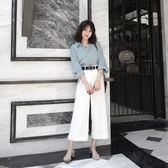 復古港味網紅心機氣質套裝女秋季時尚寬松高腰闊腿褲兩件套