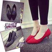 大尺碼涼鞋4cm低跟大碼尖頭細跟黑色工作鞋紅色單鞋 mc8174『東京衣社』