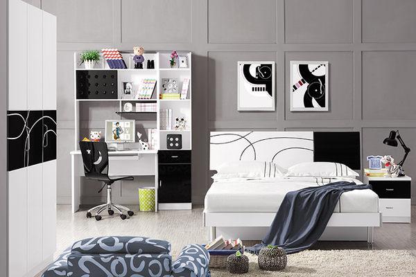 [首雅傢俬] 黑白圓舞曲 4尺 單人加大 床架 加大床 兒童床 青少年 單人床 子母床