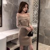 洋裝  秋季名媛性感女神一字領露肩修身包臀夜場針織彈力連衣裙