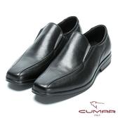 CUMAR 超輕柔韌大底 舒適真皮簡約紳士鞋-黑色