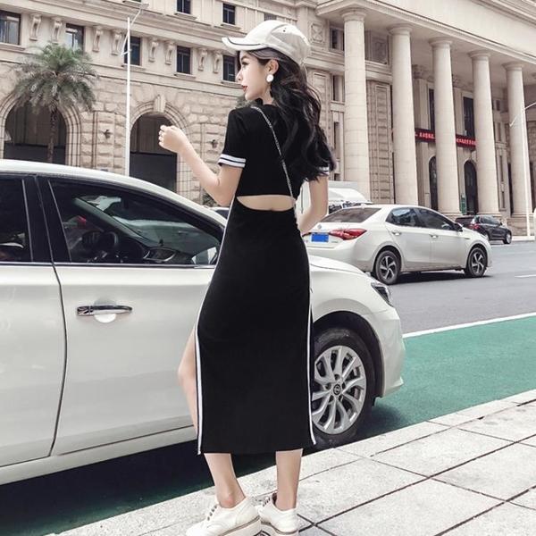 2018夏季新款女裝韓版氣質圓領短袖側邊開叉鏤空露背中長款洋裝