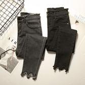 2018春新款黑色牛仔褲女九分ins超火的不規則毛邊小腳鉛筆褲chic 挪威森林