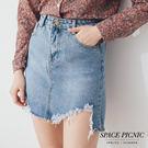 單寧 短裙 Space Picnic|現+預.下擺抓破設計單寧短裙【C18011096】