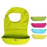 可折疊外出攜帶純色立體防水飯兜圍兜 吃飯 口水巾