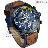 CURREN 卡瑞恩 真三眼大錶徑帥氣皮革男錶 防水手錶 學生 日期視窗 黑x藍 CU8292藍槍