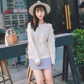 針織衫-圓領純色菱形紋甜美蕾絲女毛衣4色73tp24【巴黎精品】