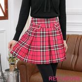 RED HOUSE-蕾赫斯-格紋百褶裙(桃紅色)