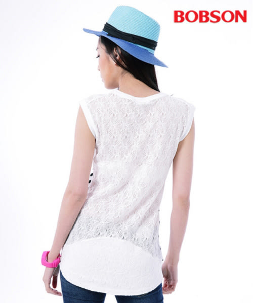 BOBSON 女款印點點配蕾絲上衣  (26074-80)