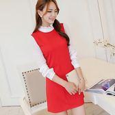 洋裝新款韓版時尚大碼拼接修身長袖針織連衣裙打底裙女-大小姐韓風館