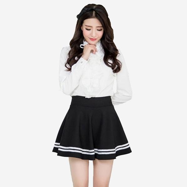 甜美厚垂感白織邊鬆緊腰褲裙 11740009