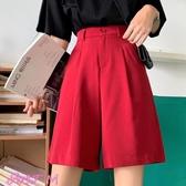 五分褲女黑色直筒西裝五分褲女寬鬆顯瘦韓版新款夏休閒寬褲短褲學生春季新品