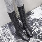 高筒靴子不過膝長靴女中筒靴系帶彈力騎士長筒靴【時尚大衣櫥】