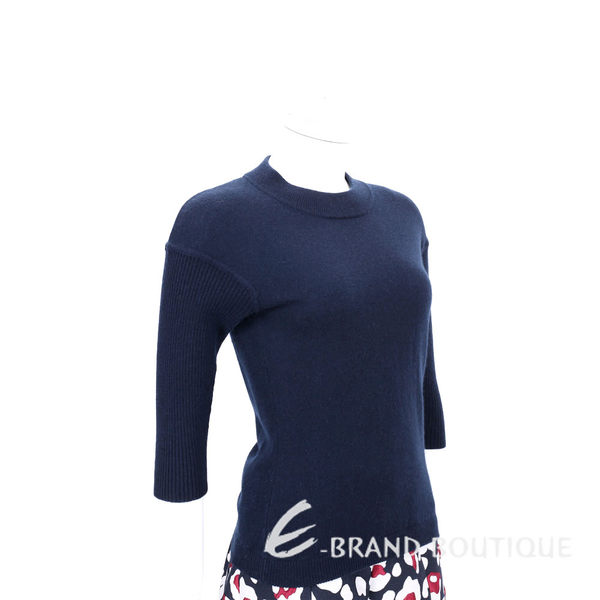 ALLUDE 30%CASHMERE 美麗諾羊毛織紋五分袖上衣(深藍色) 1540649-34