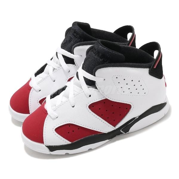 Nike Air Jordan 6 Retro TD Carmine 白 紅 童鞋 小童鞋 胭脂紅 AJ6 喬丹 6代【ACS】 384667-106