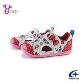 Moonstar月星童鞋 寶寶鞋 女童機能涼鞋 學步鞋 凱蒂貓 三麗鷗聯名款 魔鬼氈 護趾 J9666#白紅◆奧森