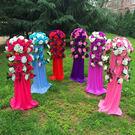 中式婚禮布置結婚花柱花拱門羅馬柱t臺裝飾...
