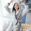 浴袍 性感法蘭絨睡袍女士秋冬季睡衣長袖可愛浴袍加厚珊瑚絨家居服保暖  交換禮物