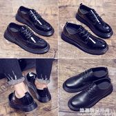 男鞋子潮鞋圓頭黑色漆皮休閒皮鞋男春季學生英倫鞋韓版潮流馬丁鞋