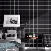 壁貼—牆紙防水純色格子翻新壁紙臥室客廳寢室店鋪裝飾壁紙灰色素色 依夏嚴選