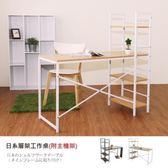 Hopma 日系層架工作桌(附主機架)-胡桃木