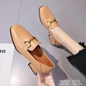 鞋子女2020潮鞋百搭小皮鞋女英倫風粗跟中跟女士兩穿春季網紅單鞋 poly girl