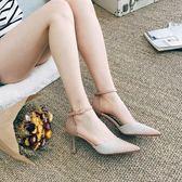 百搭貓跟涼鞋少女仙女單鞋 春季細跟高跟鞋女夏季 嬡孕哺