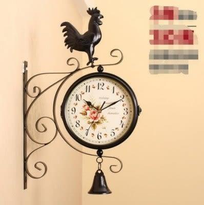 美式雙面掛鐘 客廳靜音雙面吊鐘【潮咖範兒】