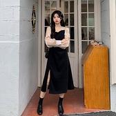 洋裝女春秋季2021新款設計感法式復古溫柔風開叉長袖裙子ins潮 陽光好物