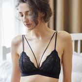 法式內衣 少女美屋性感bralette蕾絲無鋼圈無海綿文胸超薄透明綁帶黑色內衣   蜜拉貝爾