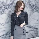 歐媛韓版 春裝新款通勤OL荷葉邊襯衣V領修身職業長袖韓國襯衫 工裝上衣