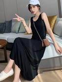 無袖洋裝 背心長裙大裙擺寬鬆中長款顯瘦無袖打底莫代爾內搭吊帶連身裙女夏 韓國時尚週